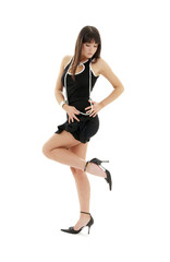 black dress brunette on high heels