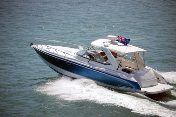 Blue Sport Fishing Boat with White Aluminum Canopy