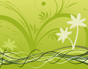 Summer background with wave pattern, vector illustration