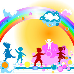 Door stickers Rainbow Kids and rainbow
