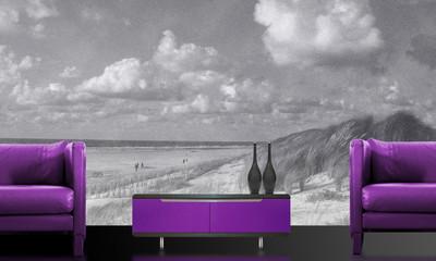 Purple interior with great Beach wallpaper