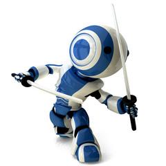 Glossy Blue Robot Ninja Holding Katanas