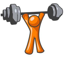 Orange Man Lifting Weights