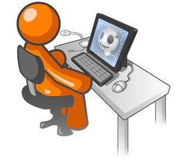 Orange Man Computer X Ray Monitor
