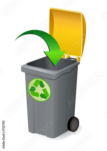 d poser dans la poubelle jaune du recyclage fichier vectoriel libre de droits sur la banque d. Black Bedroom Furniture Sets. Home Design Ideas