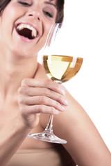 Frau Lachen Freude Glas Wein