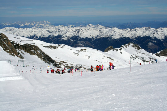 Skiers in Austrian Alps