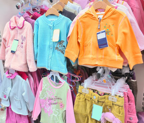 girls' clothes in a store