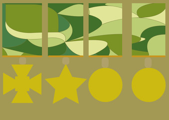 Wall Mural - camouflage pattern with medals