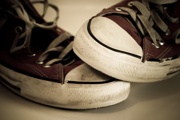 Old worn shoes