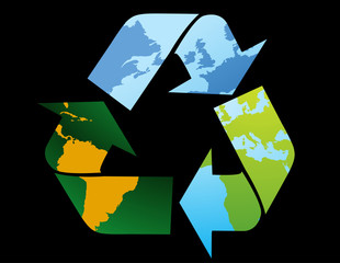 Recycle Symbol-World map
