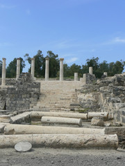Ruins of an ancient city of Scythopolis in Beit-Shean, Israel