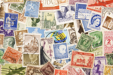 Postage stamps from all over the world background