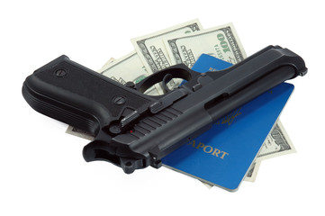 black gun, passport and cash