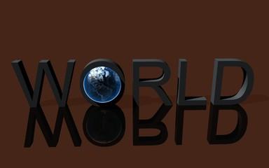 Schriftzug World,  mit der Erde im Buchstaben O