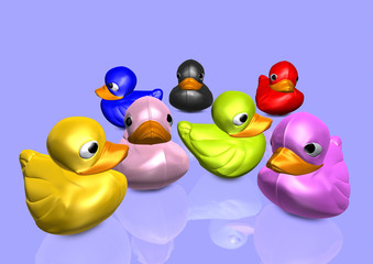 Plastic coloured ducks