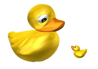 Plastic ducks big and small