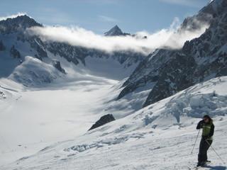 Skieuse aux Grands Montets, Chamonix Mont Blanc