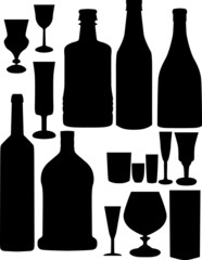 glass and bottles silhouettes