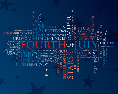 fourth of july words in red, white, and blue