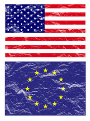 usa and euro flag ,vector illustration