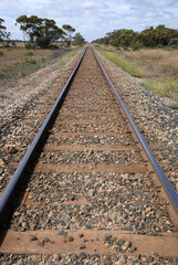 Train rails in perspective view
