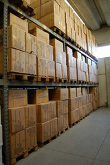 warehouse,boxes on shelfs