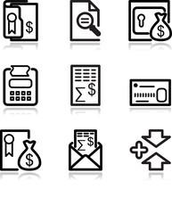 Black contour web icons, set 14