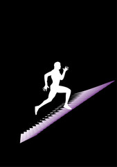 Man runs on the stairs