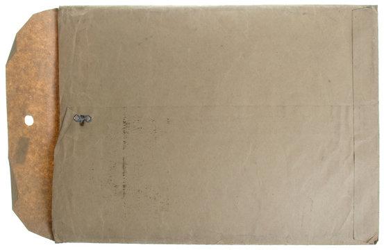 Vintage white manilla open envelope isolated on white.