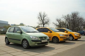 Three cars in a row