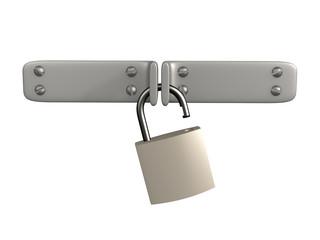 3d open lock, hanging on two metal shutters