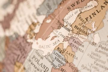 Fotorolgordijn Wereldkaart East Baltic map close up