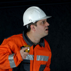 mine worker searching