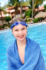 Teenage girl at swimming pool