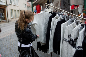 Young girl shopping in market