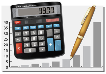 Calculator and pen. Business team. Vector illustration.