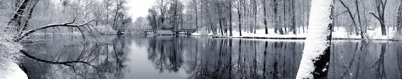 Canvas Prints Dark grey Lake in winter panorama