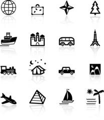 black travel icons