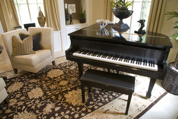 Grand piano in a luxury home.