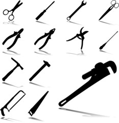 Set icons - 23. Tools. Set of twelve vector icons
