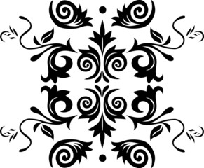 black decoration with leaves