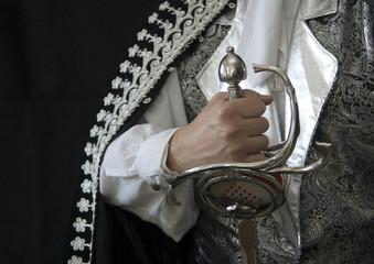 Hand eines edlen Ritters mit Rapierschwert - Querformat