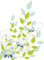 leaves and butterflies - vector