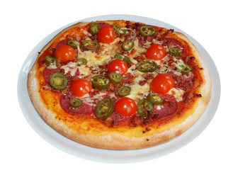 salami pizza mit jalapenos