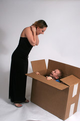 suprise package! Children in the box