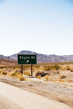 Zzyzx road in California sign.