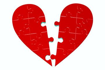 deux moitiés de coeur en puzzle