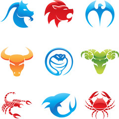 Glossy logos of 9 different animals in various colours