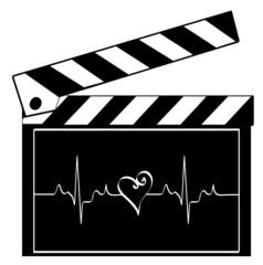 clapboard with heart rhythm running across it